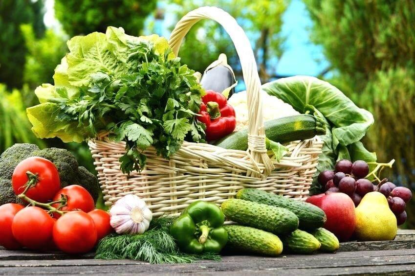 Fruits and Vegetables delivered by green basket